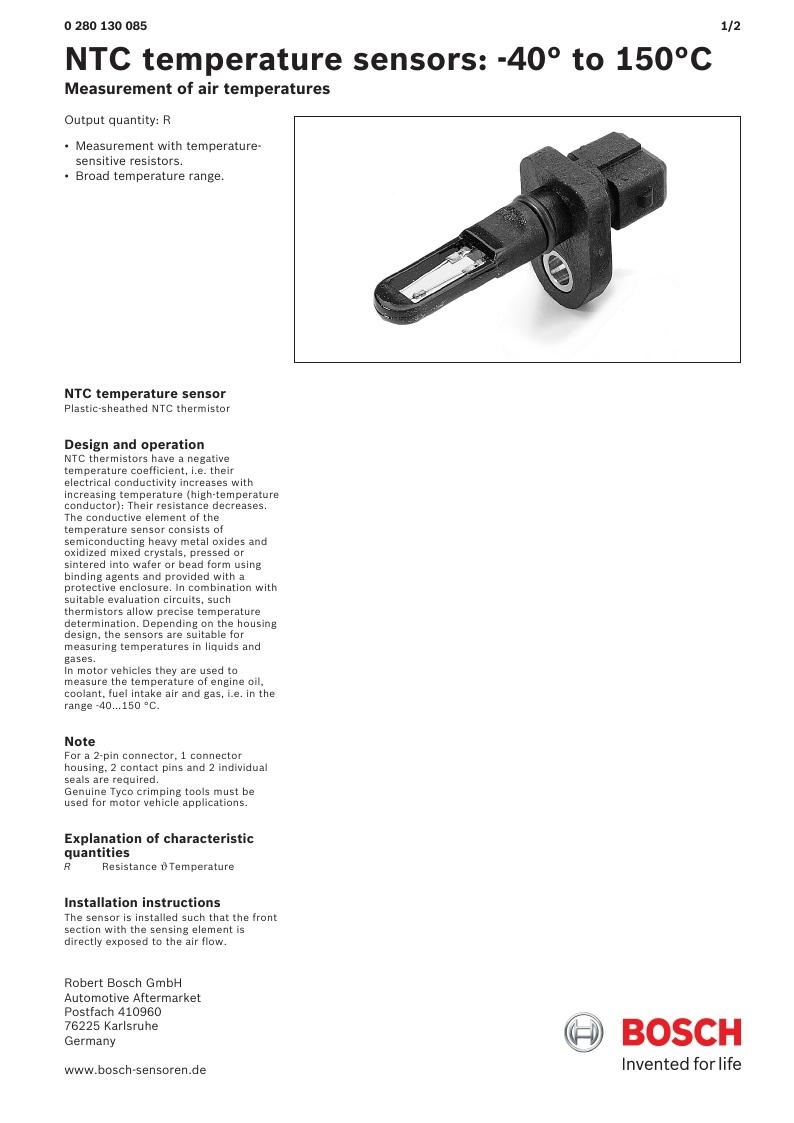 datasheet Bosch 0280130085 page 1