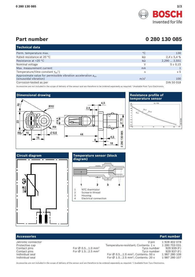datasheet Bosch 0280130085 page 2